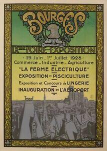 Original-Poster-De-la-Neziere-Bourges-Exhibition-Fair-Airport-1927