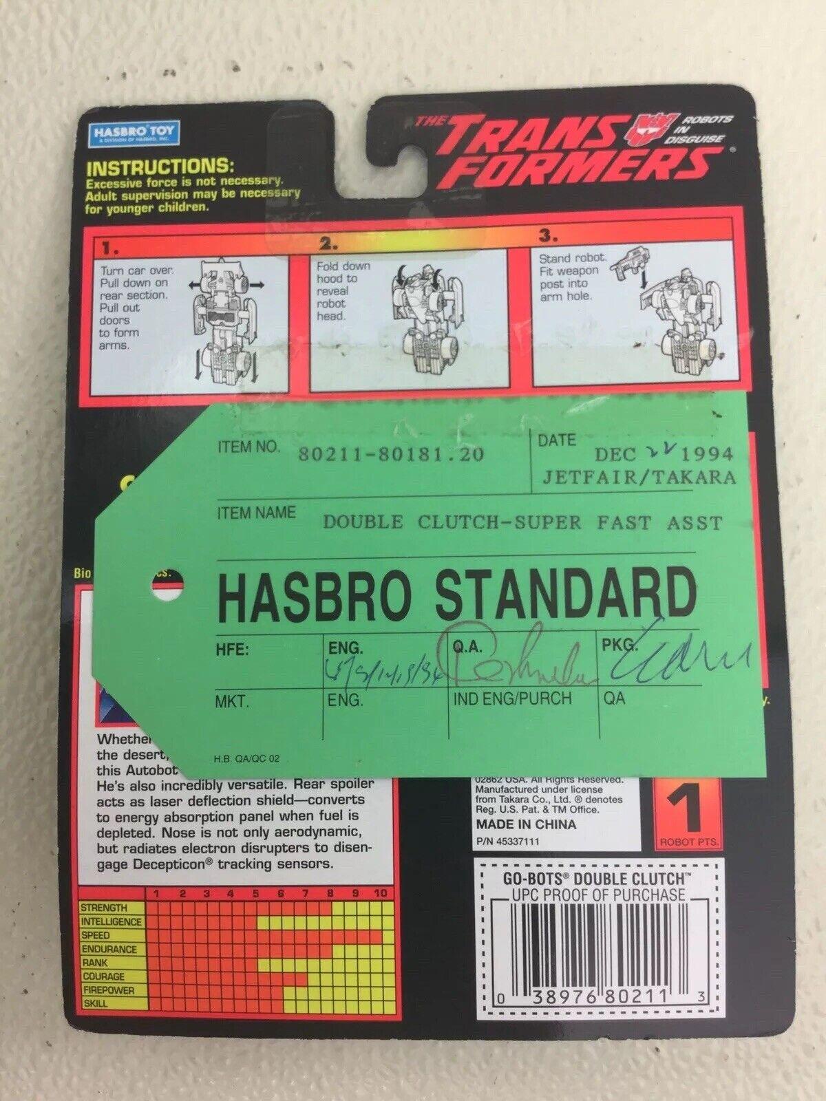 Transformers Go-Bots DOUBLE CLUTCH   -  HASBRO STANDARD vert Tag Sample  avec le prix bon marché pour obtenir la meilleure marque