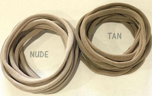 10 Pack Nylon Elastic Headbands Two Sizes 10 Colours Newborn up