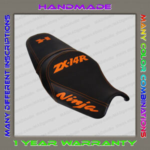 Custom-Black-Orange-Seat-Cover-KAWASAKI-ZX-14R-ZZR1400-12-Second-Generation