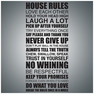 Details about House Rules   WALL QUOTE DECAL VINYL LETTERING SAYING