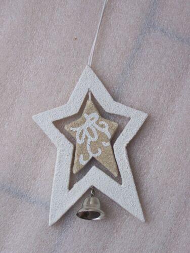 Beige Crema De Madera De Árbol De Navidad habitación Colgador Decoración Angel Heart Star Bell