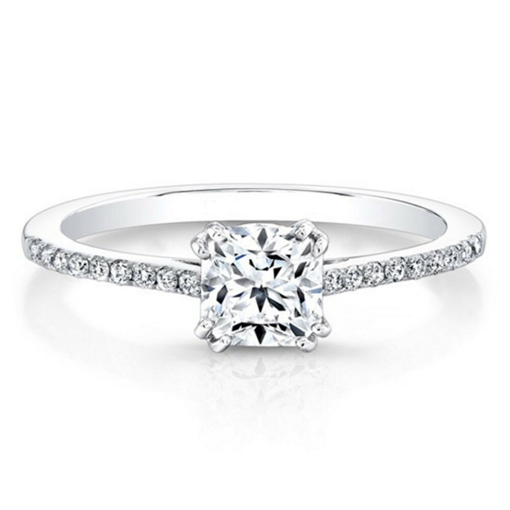 0.59 Real Cushion Cut Diamond Engagement Ring 14K Real White gold Size 7.5 7.25
