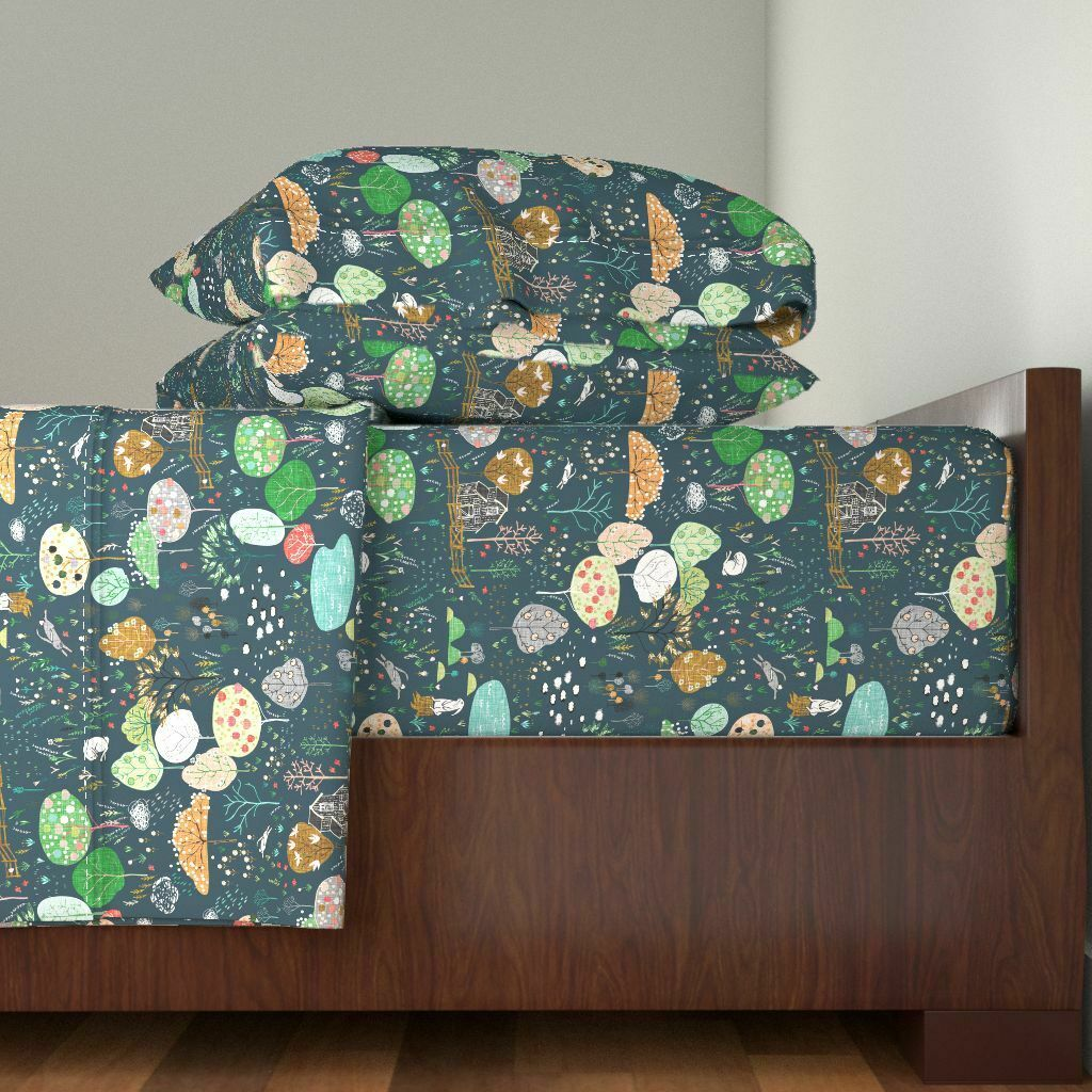 Farm Ambrosia Orchard (Midnight Linen) 100% Cotton Sateen Sheet Set by Roostery