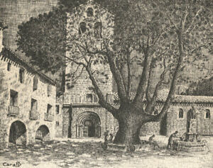 Maurice-Caralp-1912-1993-Mid-20th-Century-Etching-French-Church-Courtyard