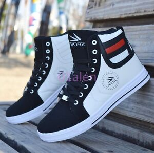 Mens-Casual-High-Tops-Lace-up-Sneakers-Skateboarding-Trainer-Boot-Plimsoll-Shoes