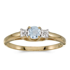 14k-Yellow-Gold-Round-Aquamarine-And-Diamond-Ring