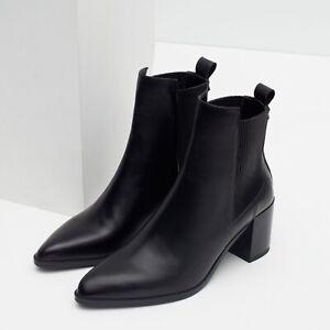 ZARA Block Heel Leather Ankle Boots