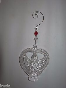 Beautiful WATERFORD CRYSTAL VALENTINE'S HEART with ANGEL~Suncatcher