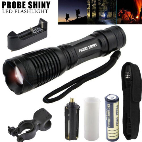 5000LM LED Tactical Zoomable Flashlight Torch Light Lamp +18650+ Charger+ Pouch