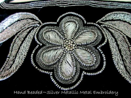 Fall~starry Cape With Metallic Roja Nights~hand Beaded~velvet Silver Embroidery pxwqdR0dn