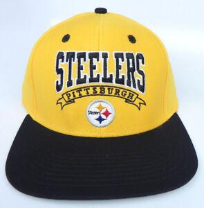 PITTSBURGH STEELERS NFL VINTAGE SNAPBACK FLAT BILL 2-TONE BANNER CAP ... 605e01a09