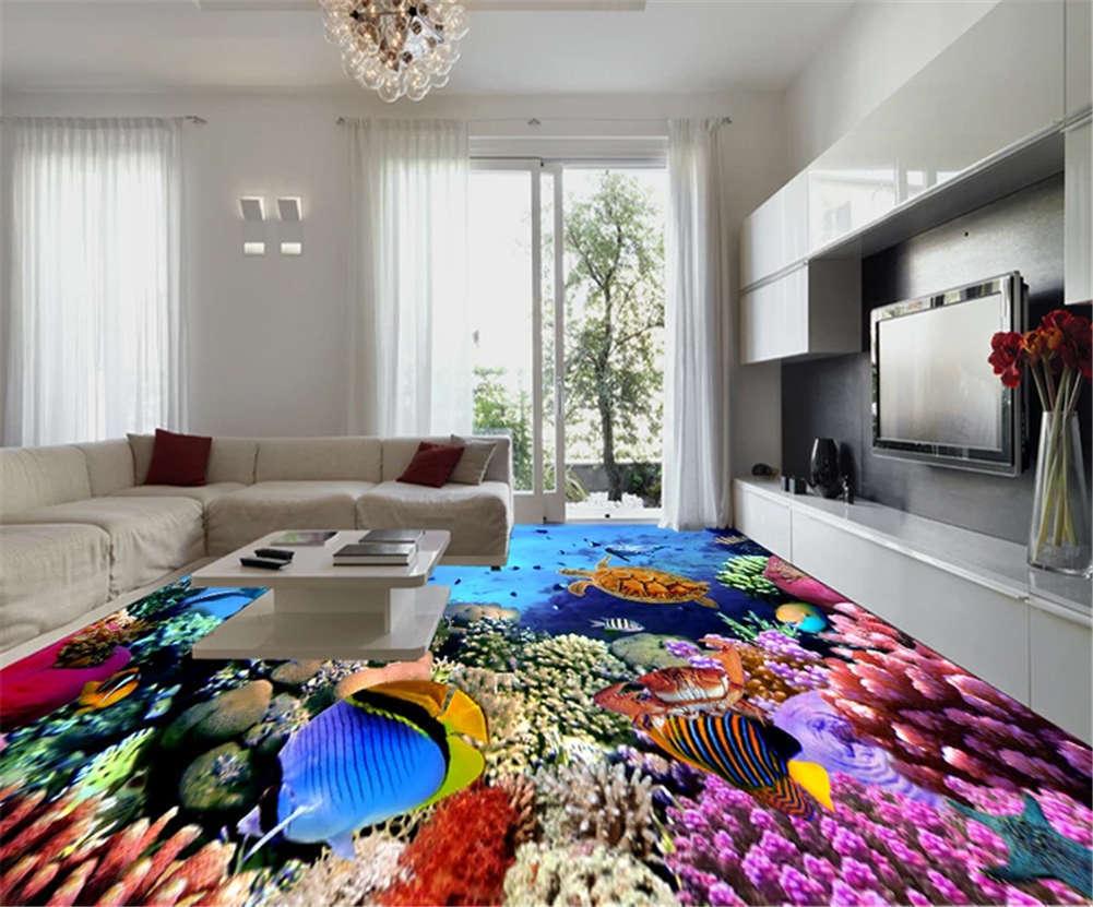 Sober Utter Fish 3D Floor Mural Photo Flooring Wallpaper Home Print Decoration