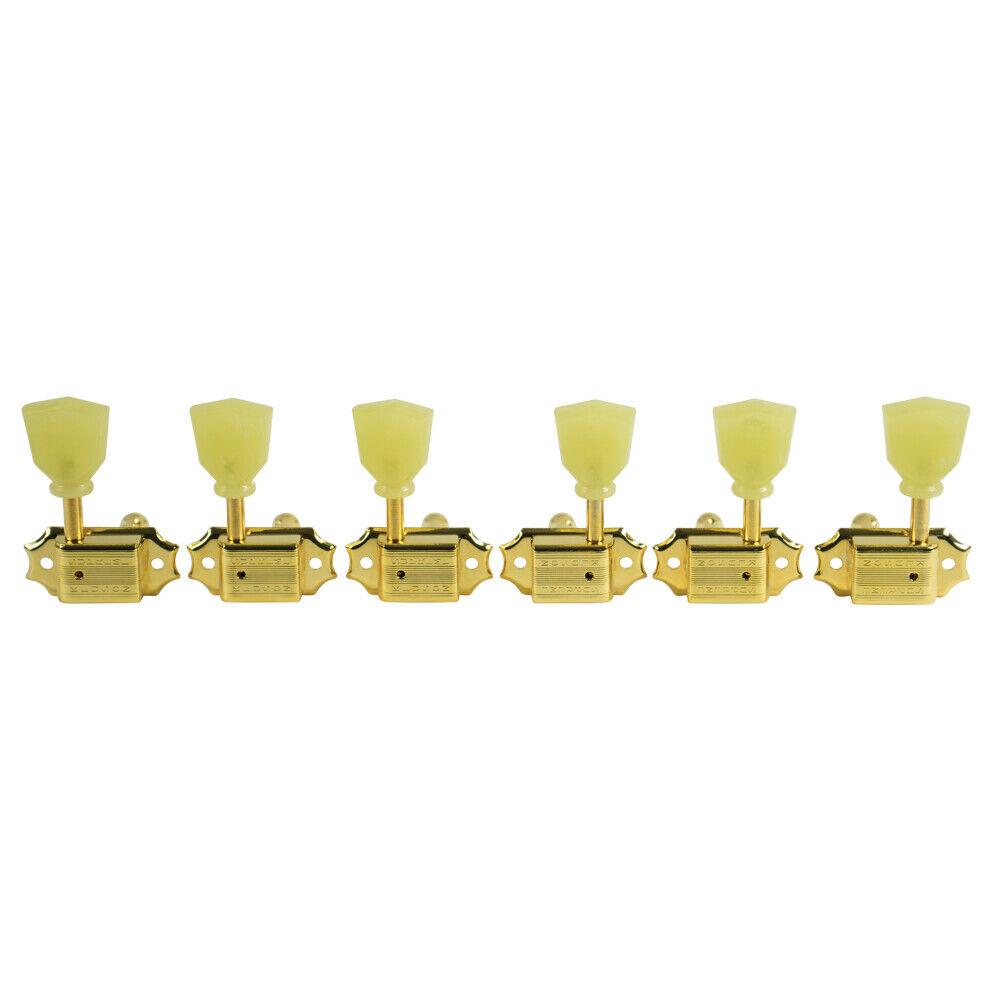 KLUSON SUPREME KTS-3-G 3X3 (3 PER SIDE) TUNERS w PEARLOID KEYSTONE BUTTONS Gold
