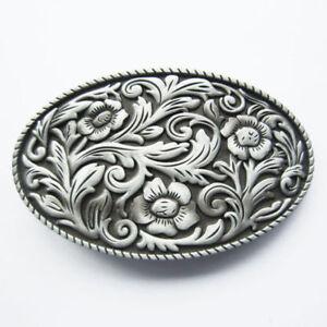 Western-Cowgirl-Flower-Pattern-Metal-Belt-Buckle