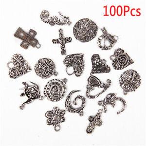 Wholesale-100pcs-Bulk-Lots-Tibetan-Silver-Mix-Charm-Pendants-Jewelry-DIY-YB-US