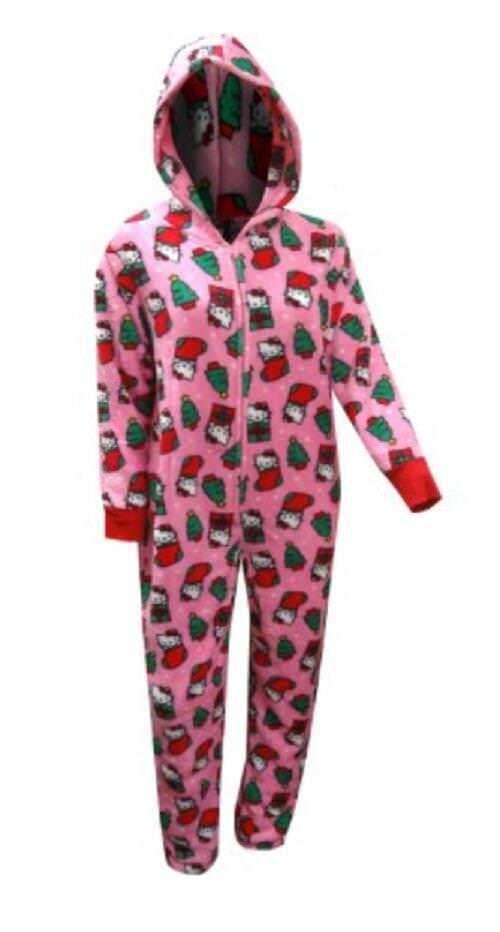 HELLO KITTY Winter Dreams One Pc Union Suit Jumper Pajamas  Ladies Women's L XL