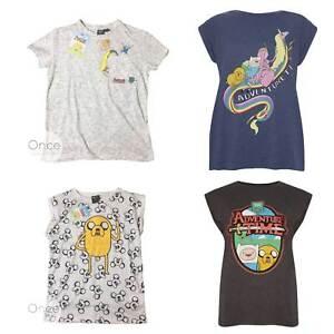 Offiziell Damen Primark Adventure Time Charakter Logo T Shirt Ebay