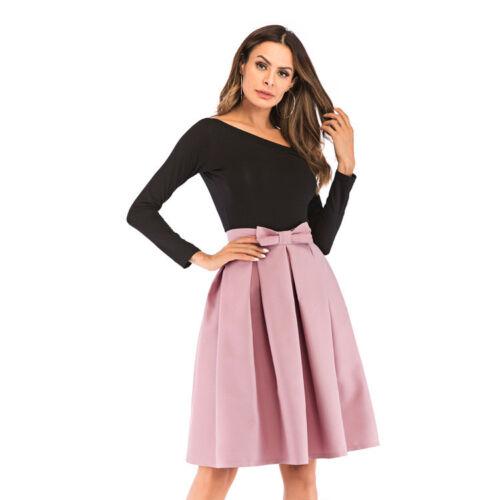 Fashion High-waist bow Skirt  Woman Knee-length Pleated Skirt 9-color S-2XL 6602