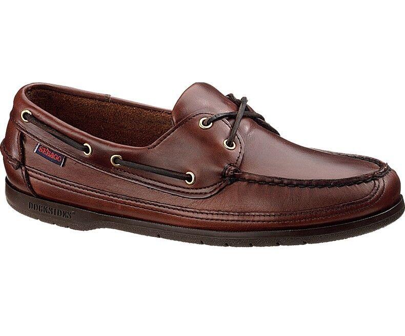 Sebago Schooner Hombre Náuticos Zapato B75943 Marrón Engrasado Encerado Nuevo