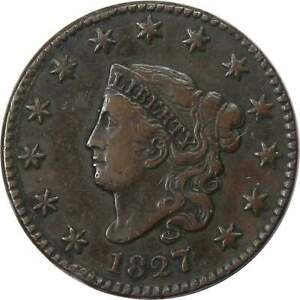 1827-1c-Coronet-Head-Large-Cent-Penny-Coin-VF-Very-Fine