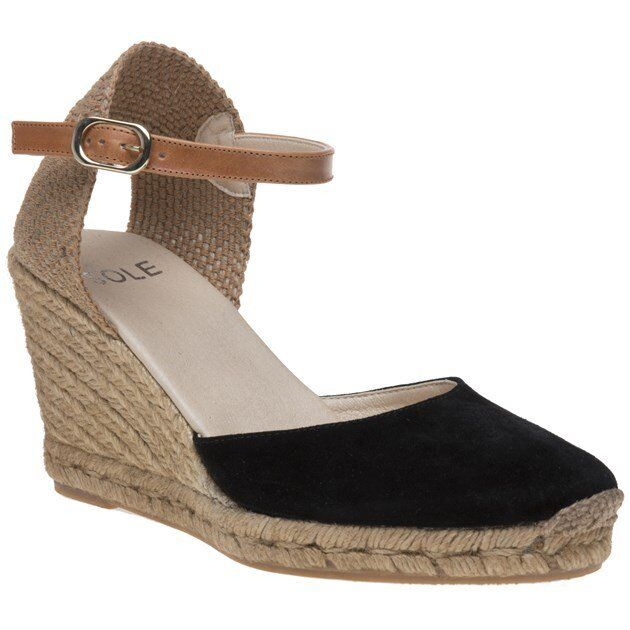 New Womens SOLE Black Annie Suede Shoes Espadrilles Buckle
