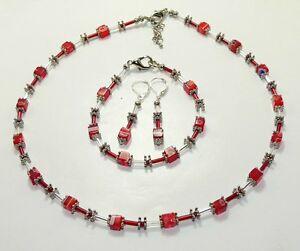 Details zu 3er Schmuckset Halskette Armband Ohrringe Würfel Millefiori rot dunkelrot 254ar