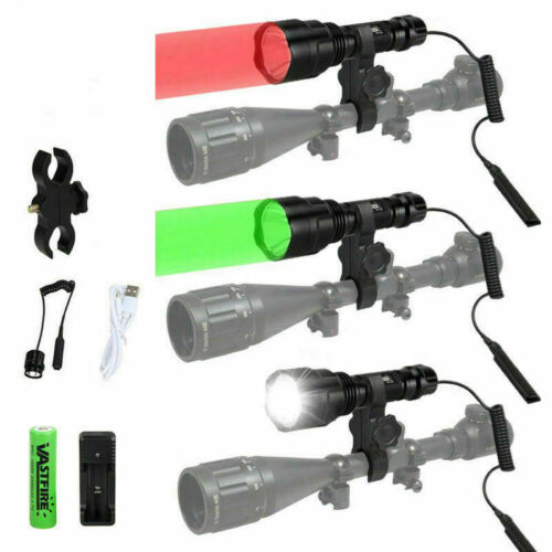 Green Red White LED Beam Hunting Flashlight Torch Hog Night Predator Scope Mount