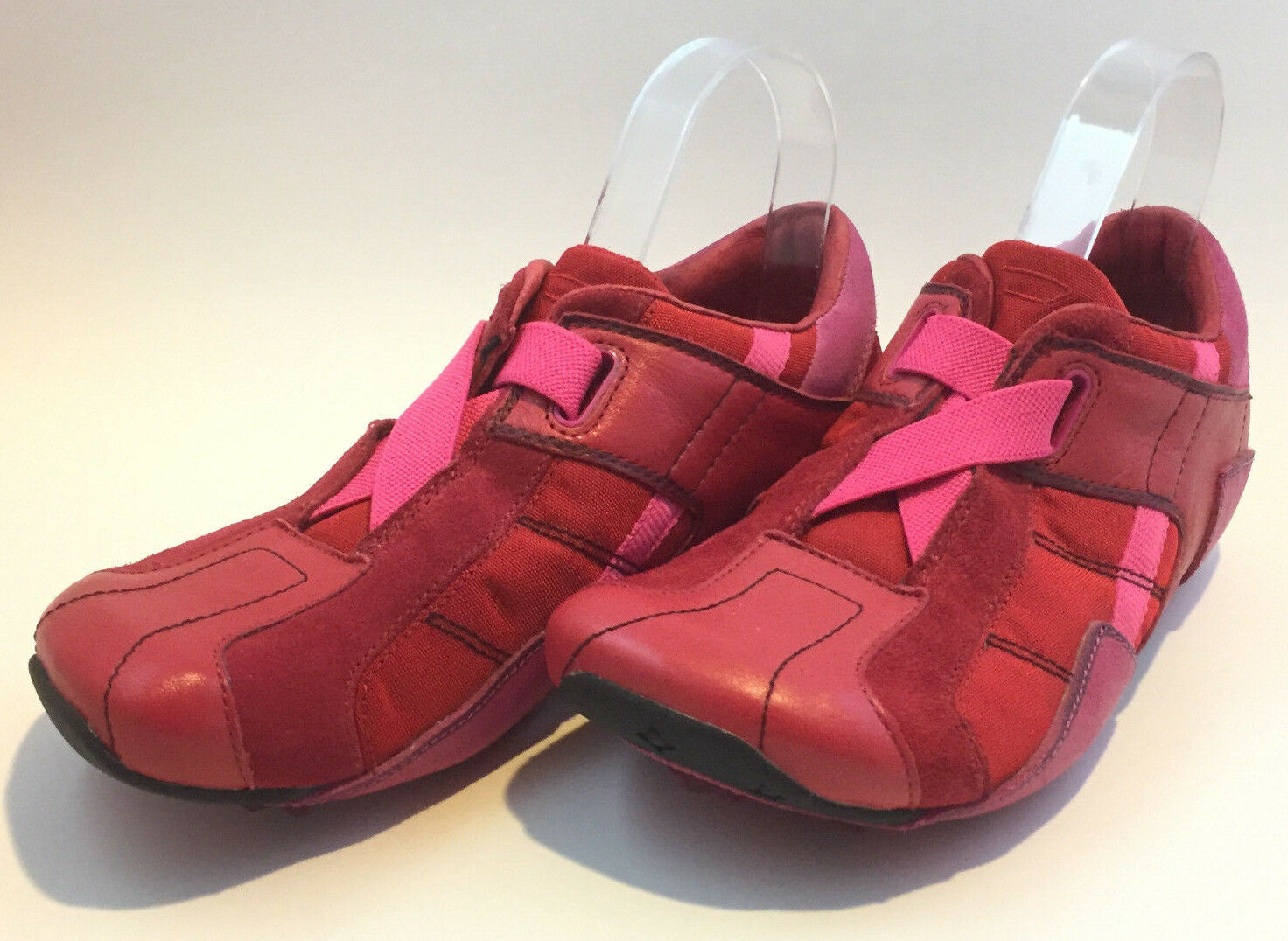 Diesel Mosley Women Pink & Red Leather Sneakers shoes Size 8 Elastic Closing
