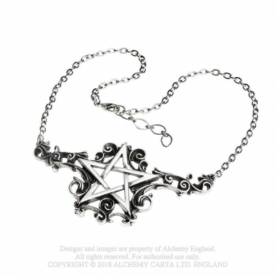 Alchemy Ciondolo in Peltro - Talismanik - Pentagramma Goth Collana - Wicca