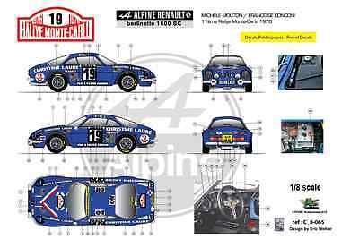 FFSMC Productions Decals 1//32 Alpine A110 1600SC Michèle Mouton MC /'76