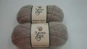 2 Skeins Yarn Bee Alpaca Twist Linen Color 90% Acrylic 10% Aplaca