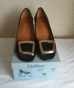 VOLTAN-Chaussures-Escarpins-Ouvert-Noir-Verni-Talon-Boucle-Or-35-Comme-Neuve