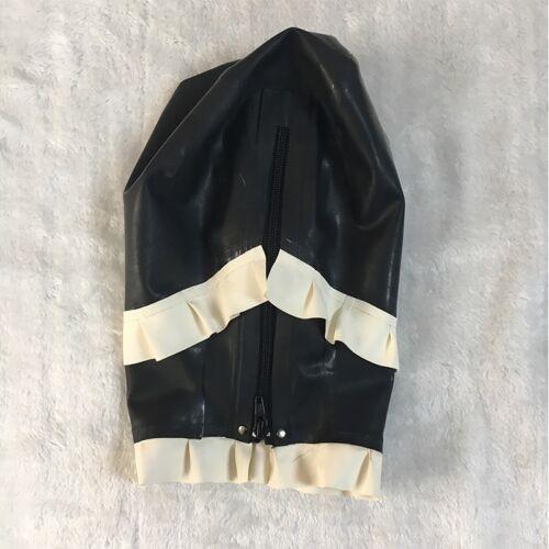 Latex Spliced Side Frilly Hood Handmade Rubber Mask for Maid Cosplay Club Wear