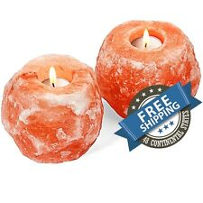 2 Pack Himalayan Salt Candle Holder Natural Crystal Rock Tea Light Hand Crafted