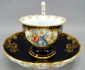 Dresden Hand Painted Courting Couple Floral Cobalt & Gold Figural Bird Cup