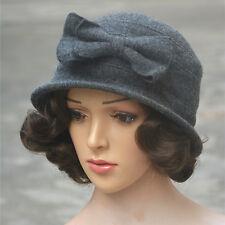 1192579a49b4f item 4 Womens ladies wool Cloche Bucket Cap Wedding formal beret winter  1920s bow Hat -Womens ladies wool Cloche Bucket Cap Wedding formal beret  winter ...