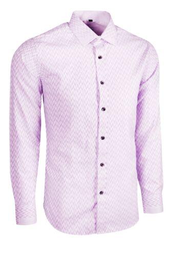 MENS LILAC SILKY FEEL HERRINGBONE PATTERN DRESS WEDDING FORMAL SHIRT £18.99 442
