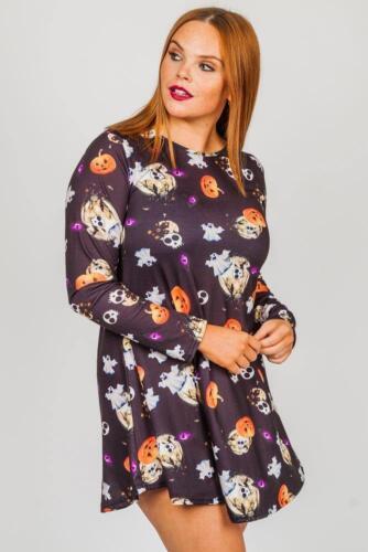 Da Donna Zucca Galaxy Pipistrello Halloween Costume Donna Smock Svasato Swing Abito