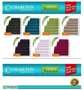 7-Piece-Set-100-EGYPTIAN-COTTON-Towel-2-x-Bath-Towels-Hand-Face-Washers-1-Mat
