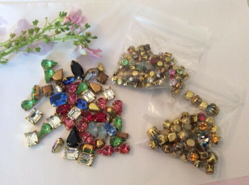 250 Vintage Brass set Mixed Shape Rhinestones BARGAIN PACK for CRAFT Post Free