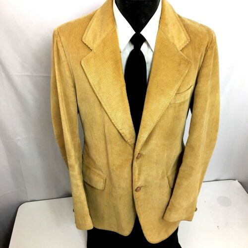 Vtg Brad Whitney CARMEL By The SEA Sport Coat CORDUROY Jacket TAN Blazer 38 L