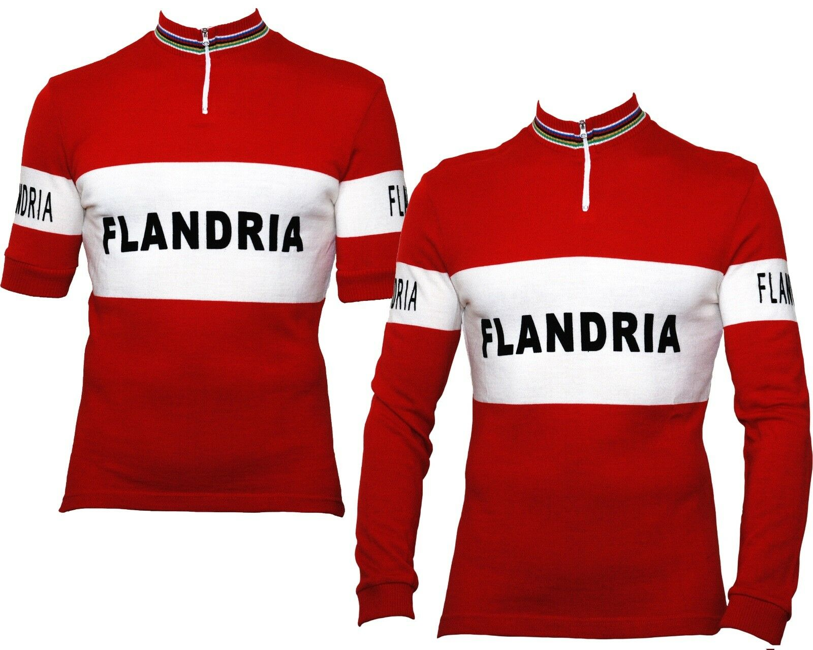 FLANDRIA Retro Wool Cycling Jersey Short Long Sleeve - Genuine Flandria Product