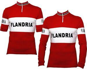 Image is loading FLANDRIA-Retro-Wool-Cycling-Jersey-Short-Long-Sleeve- be4f0485e
