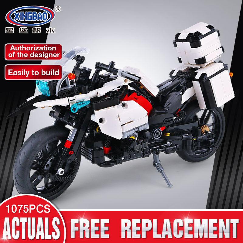 Bausteine The Patrol Motorcycle Auto Motorrad 1075PCS XingBao Geschenk Weiß