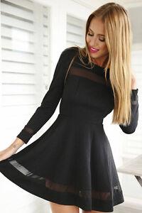 29fb34402ee7 Ladies Long Sleeve Paris Hilton Inspired Contrast Mesh Insert Skater ...