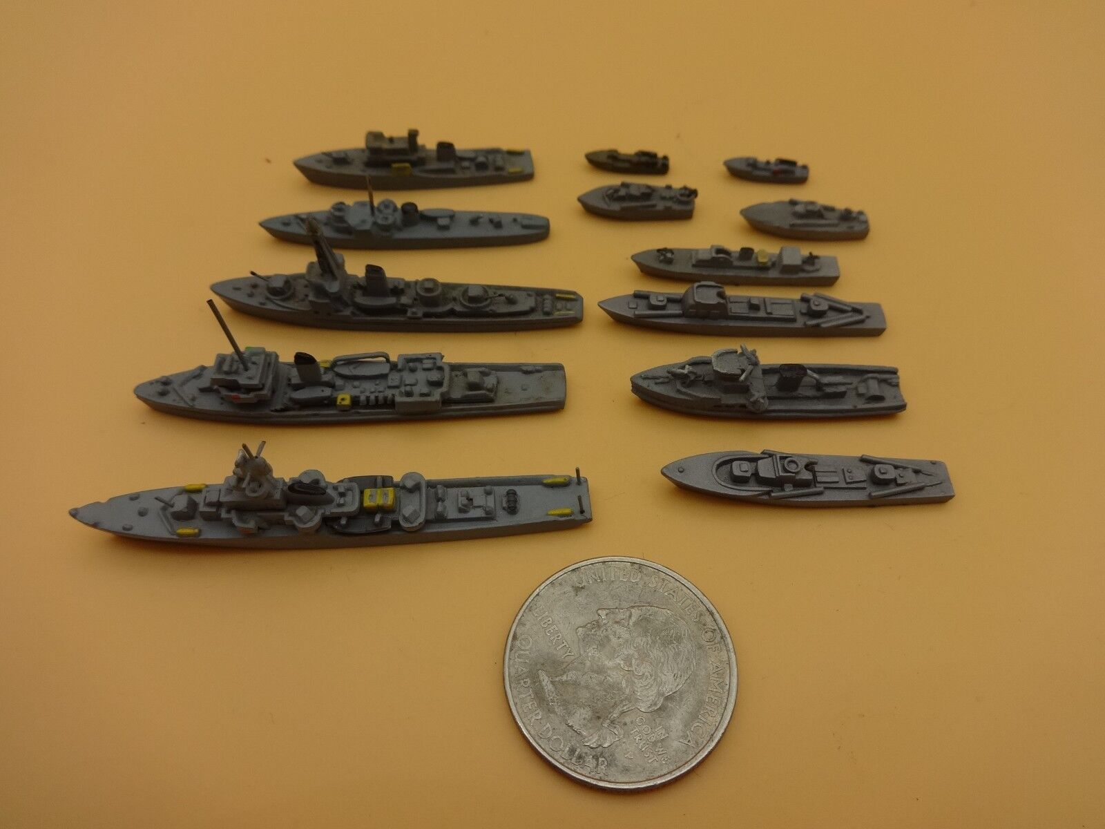 Vintage German 13 diff. Metal   Lead German Navy Warships - Loose & Nice