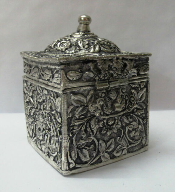 INDIAN SILVER COATED BRASS RELIEF WORK BOX FOR NUTS BAR COUNTER DECOR GIFT