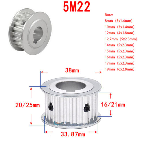 5 M Timing belt pulley 15T-60T Rainure Alésage AF-type 16//21mm Courroie synchrone Wheel