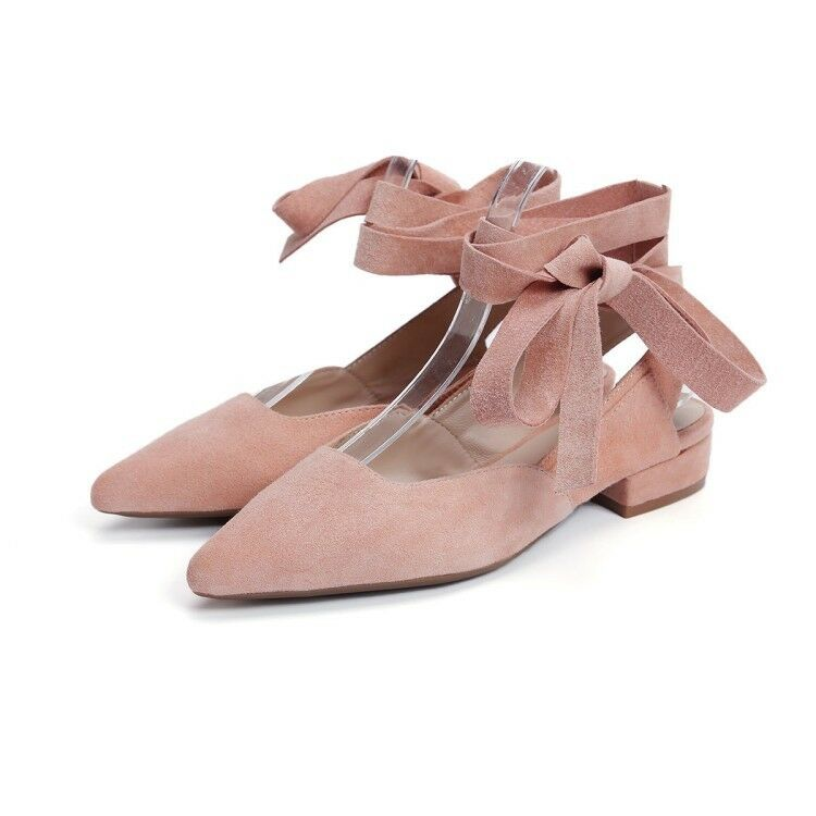 donna Suede Slingbacks Slingbacks Slingbacks Sandals Pointed Toe Ankle Strap Low Heels Casual scarpe f4b628